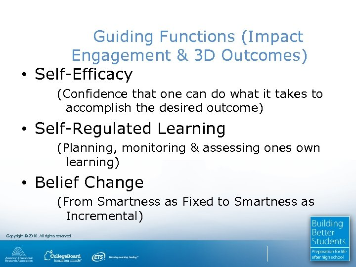 Guiding Functions (Impact Engagement & 3 D Outcomes) • Self-Efficacy (Confidence that one can
