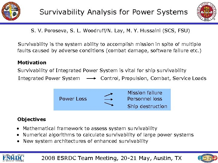 Survivability Analysis for Power Systems S. V. Poroseva, S. L. Woodruff/N. Lay, M. Y.
