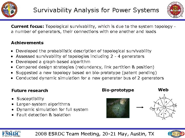 Survivability Analysis for Power Systems Current focus: Topological survivability, which is due to the