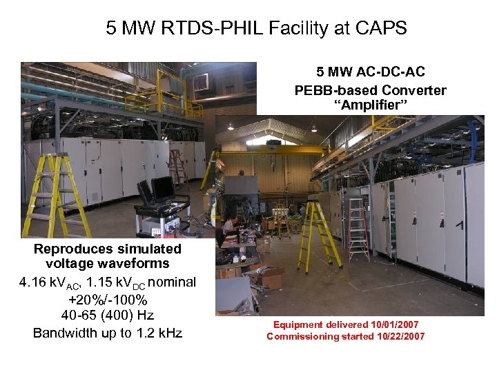 "5 MW RTDS-PHIL Facility at CAPS 5 MW AC-DC-AC PEBB-based Converter ""Amplifier"" Reproduces simulated"