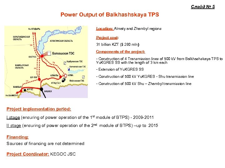 Слайд № 5 Power Output of Balkhashskaya TPS Location: Almaty and Zhambyl regions Project