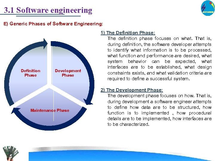 3. 1 Software engineering E) Generic Phases of Software Engineering: Definition Phase Development Phase