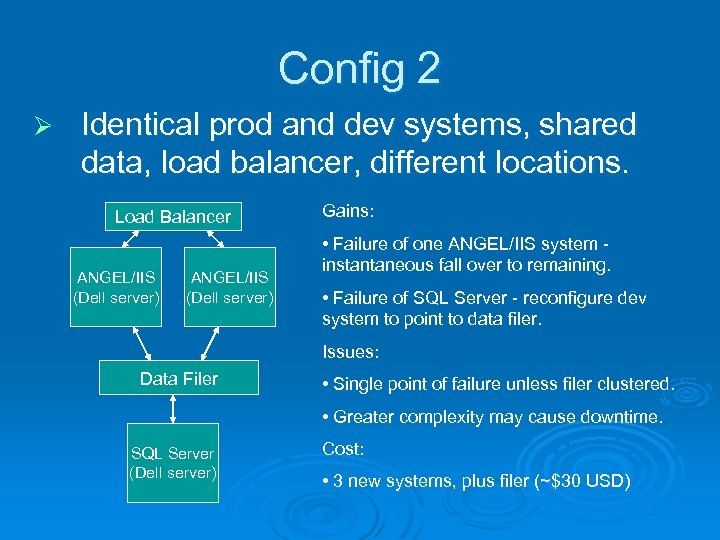Config 2 Ø Identical prod and dev systems, shared data, load balancer, different locations.