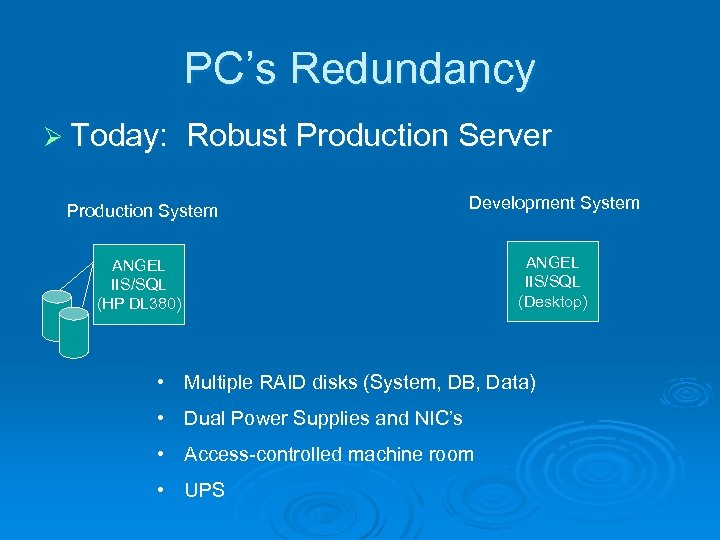 PC's Redundancy Ø Today: Robust Production Server Production System Development System ANGEL IIS/SQL (HP