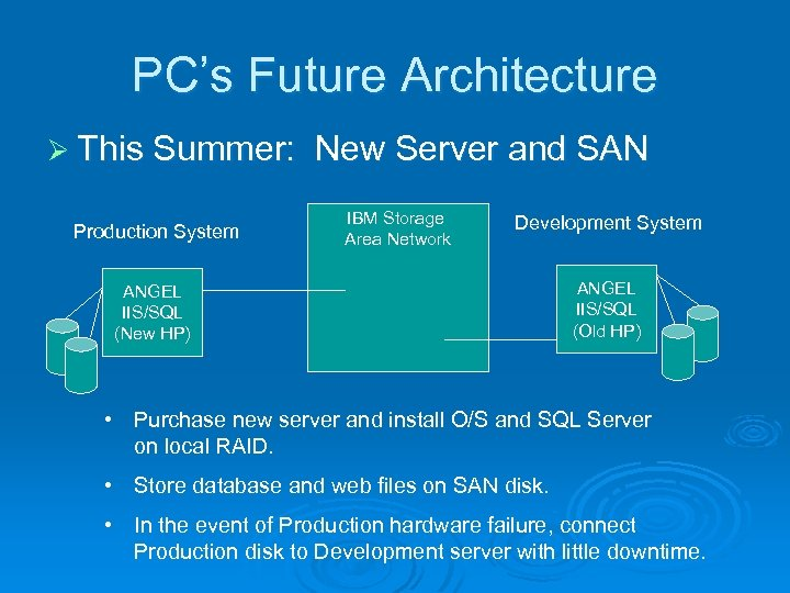 PC's Future Architecture Ø This Summer: Production System New Server and SAN IBM Storage