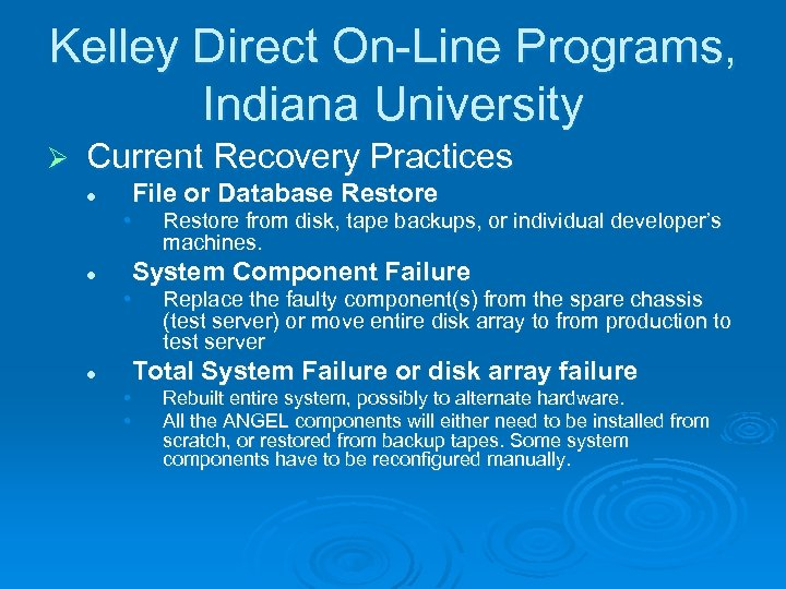 Kelley Direct On-Line Programs, Indiana University Ø Current Recovery Practices File or Database Restore