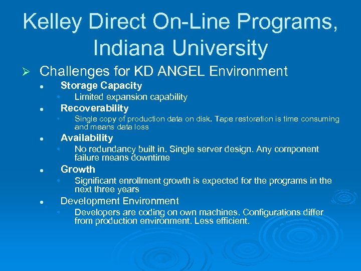 Kelley Direct On-Line Programs, Indiana University Ø Challenges for KD ANGEL Environment Storage Capacity