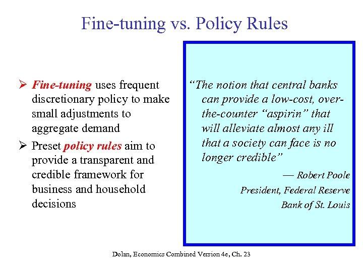 Fine-tuning vs. Policy Rules Ø Fine-tuning uses frequent discretionary policy to make small adjustments