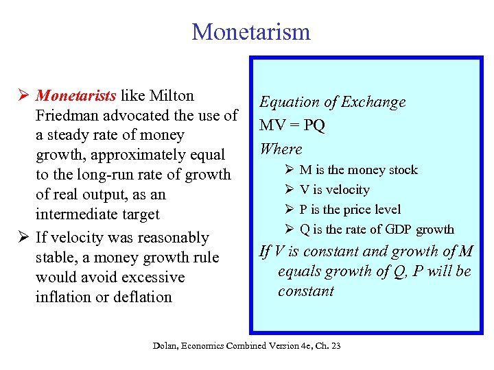 Monetarism Ø Monetarists like Milton Friedman advocated the use of a steady rate of