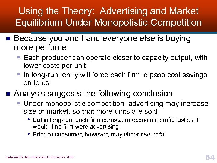 Using the Theory: Advertising and Market Equilibrium Under Monopolistic Competition n Because you and