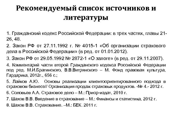 Рекомендуемый список источников и литературы 1. Гражданский кодекс Российской Федерации: в трех частях, главы