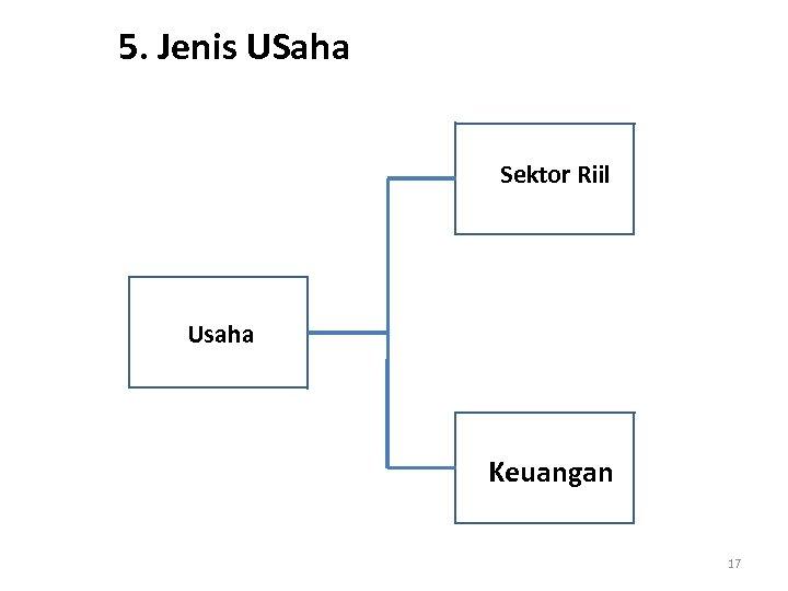 5. Jenis USaha Sektor Riil Usaha Keuangan 17