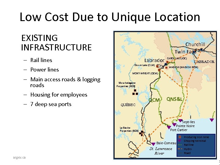 Low Cost Due to Unique Location EXISTING INFRASTRUCTURE – Rail lines – Power lines