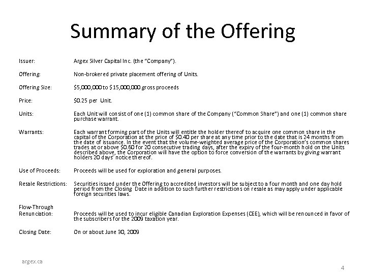 """Summary of the Offering Issuer: Argex Silver Capital Inc. (the """"Company""""). Offering: Non-brokered private"""