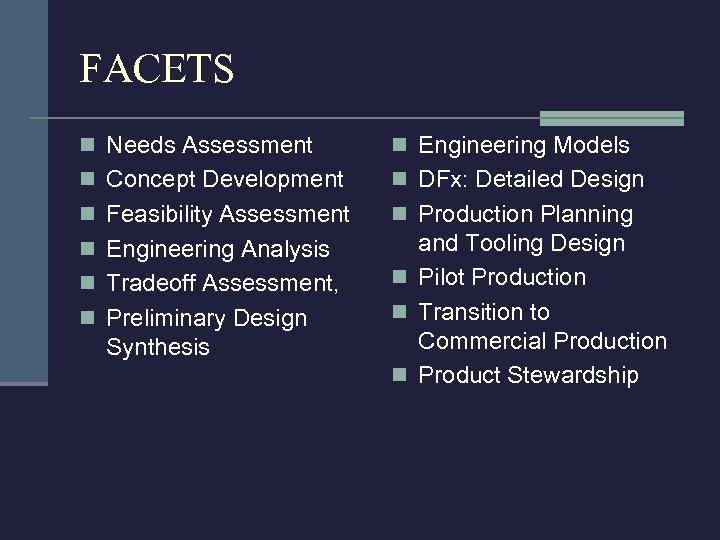 FACETS n Needs Assessment n Engineering Models n Concept Development n DFx: Detailed Design