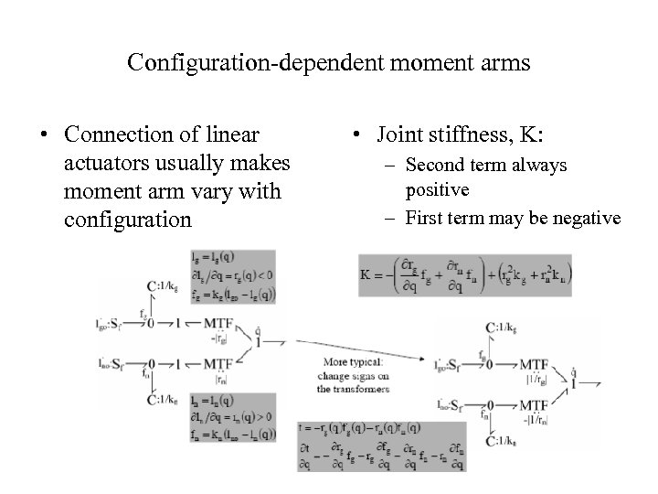 Configuration-dependent moment arms • Connection of linear actuators usually makes moment arm vary with