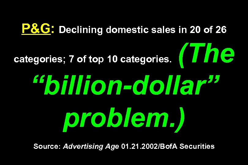 """P&G: Declining domestic sales in 20 of 26 (The """"billion-dollar"""" problem. ) categories; 7"""