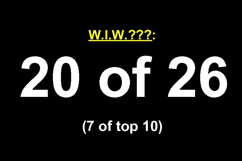 W. I. W. ? ? ? : 20 of 26 (7 of top 10)
