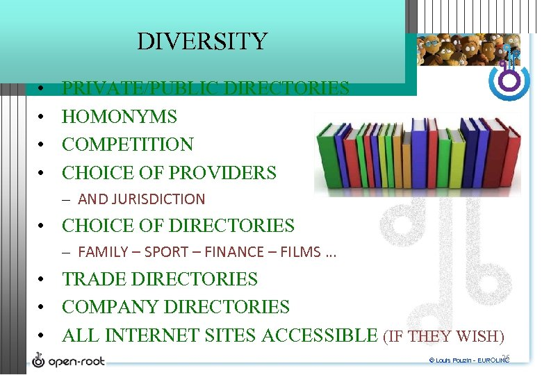 DIVERSITY • • PRIVATE/PUBLIC DIRECTORIES HOMONYMS COMPETITION CHOICE OF PROVIDERS – AND JURISDICTION •