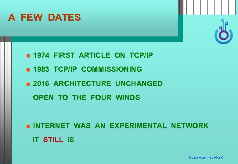 A FEW DATES 1974 FIRST ARTICLE ON TCP/IP 1983 TCP/IP COMMISSIONING 2016 ARCHITECTURE UNCHANGED