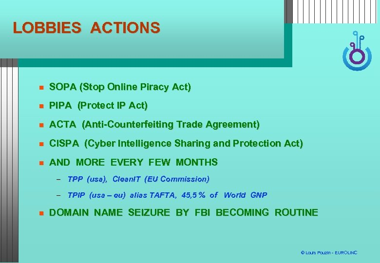 LOBBIES ACTIONS SOPA (Stop Online Piracy Act) PIPA (Protect IP Act) ACTA (Anti-Counterfeiting Trade