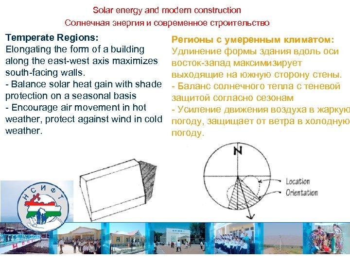 Solar energy and modern construction Солнечная энергия и современное строительство Temperate Regions: Elongating the