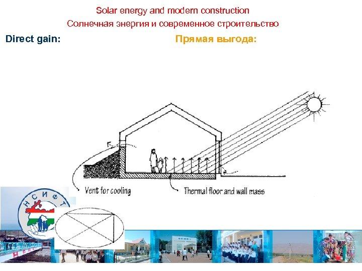 Solar energy and modern construction Солнечная энергия и современное строительство Direct gain: Прямая выгода: