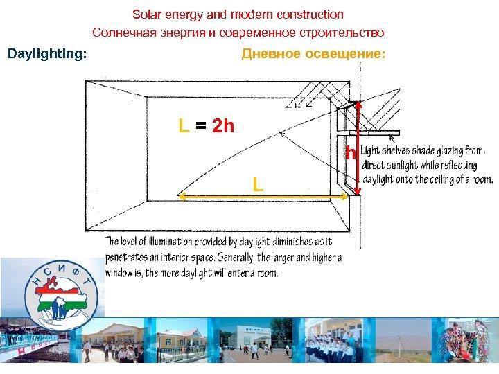 Solar energy and modern construction Солнечная энергия и современное строительство Daylighting: Дневное освещение: L