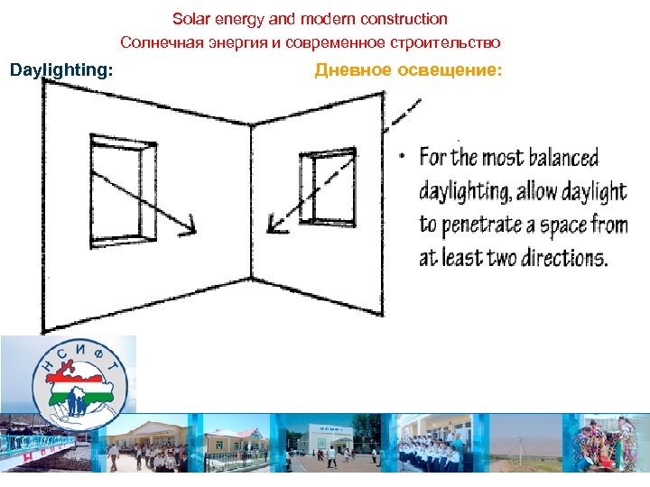 Solar energy and modern construction Солнечная энергия и современное строительство Daylighting: Дневное освещение: