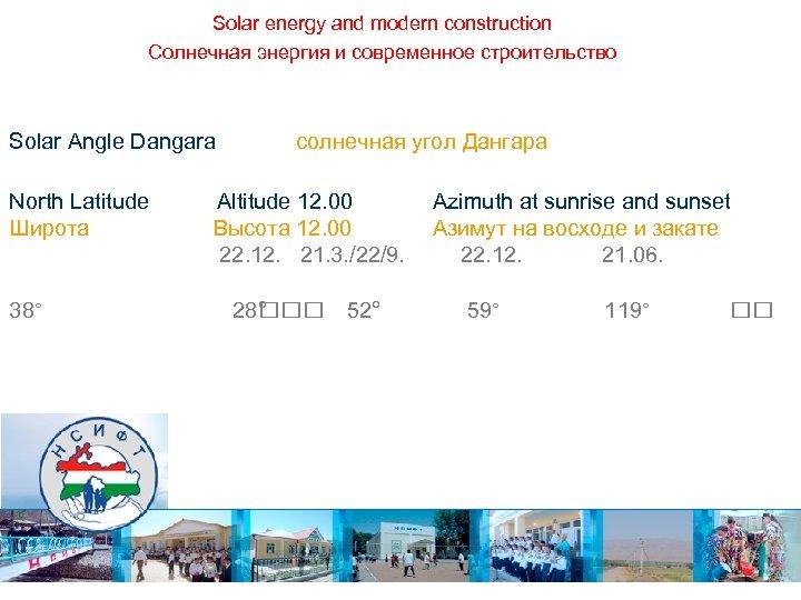 Solar energy and modern construction Солнечная энергия и современное строительство Solar Angle Dangara North
