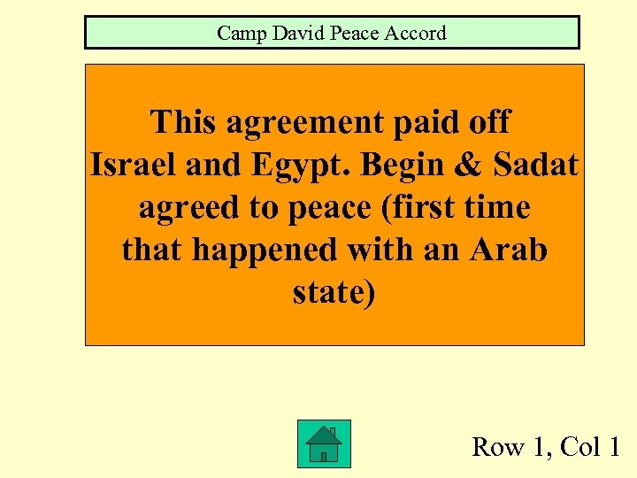 Camp David Peace Accord This agreement paid off Israel and Egypt. Begin & Sadat