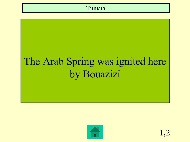 Tunisia The Arab Spring was ignited here by Bouazizi 1, 2