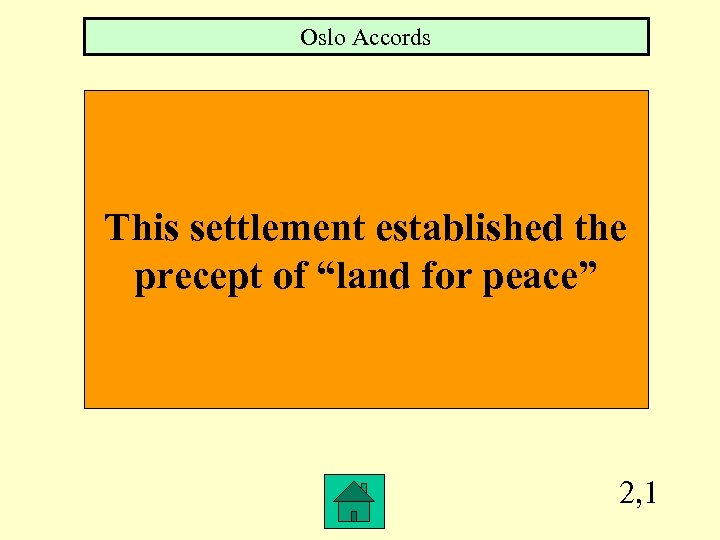 "Oslo Accords This settlement established the precept of ""land for peace"" 2, 1"