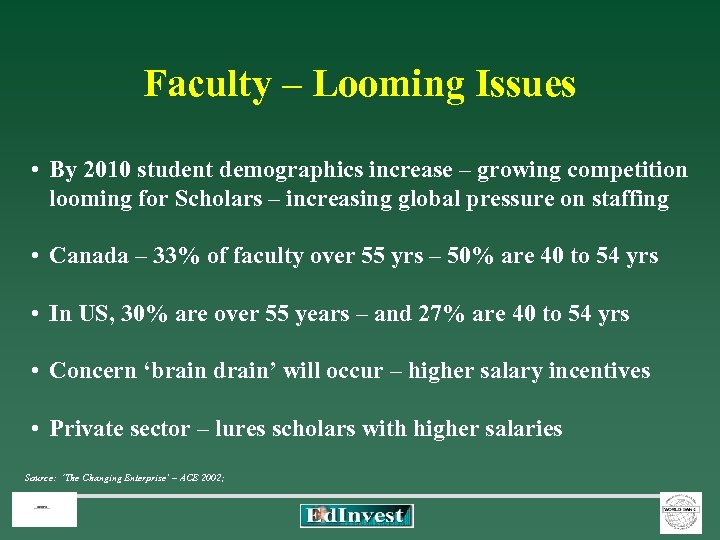 Faculty – Looming Issues • By 2010 student demographics increase – growing competition looming
