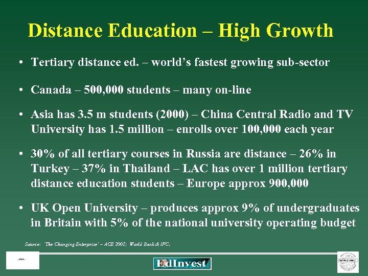 Distance Education – High Growth • Tertiary distance ed. – world's fastest growing sub-sector