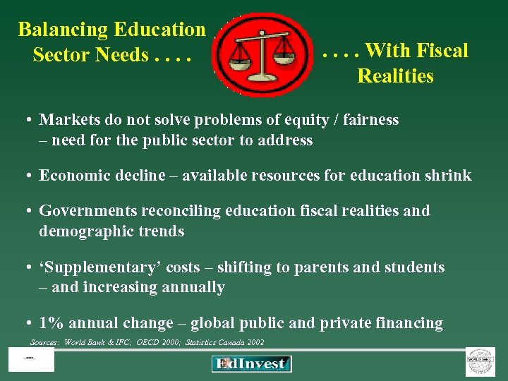 Balancing Education Sector Needs. . . . With Fiscal Realities • Markets do not