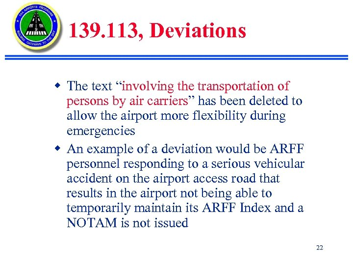 "139. 113, Deviations w The text ""involving the transportation of persons by air carriers"""