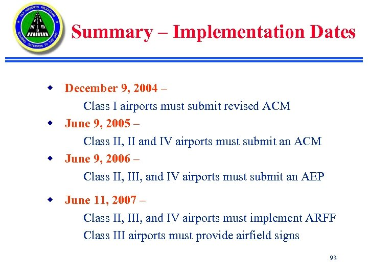 Summary – Implementation Dates w December 9, 2004 – Class I airports must submit