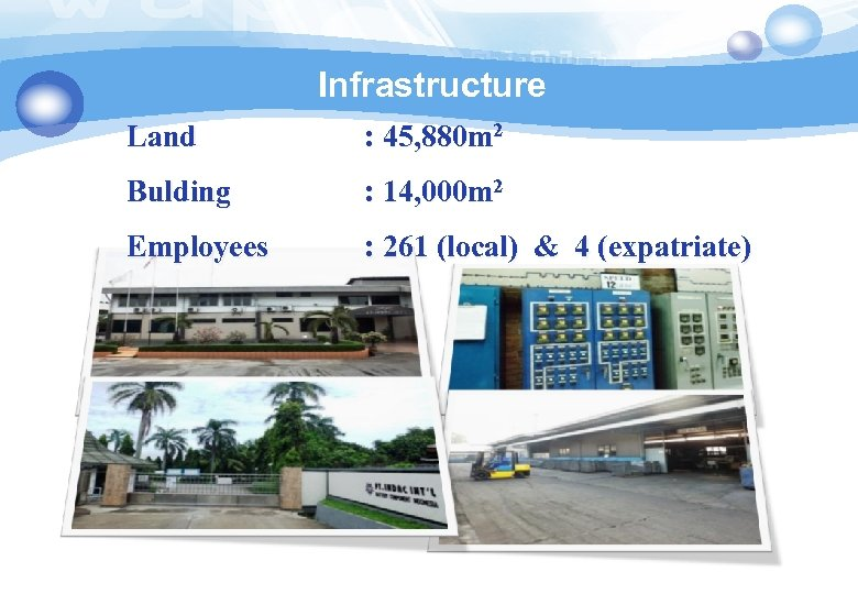 Infrastructure Land : 45, 880 m 2 Bulding : 14, 000 m 2 Employees