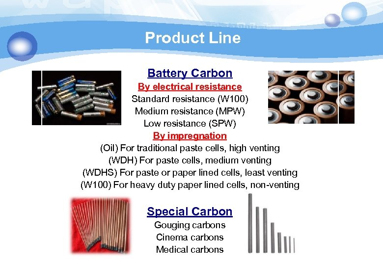 Product Line Battery Carbon By electrical resistance Standard resistance (W 100) Medium resistance (MPW)