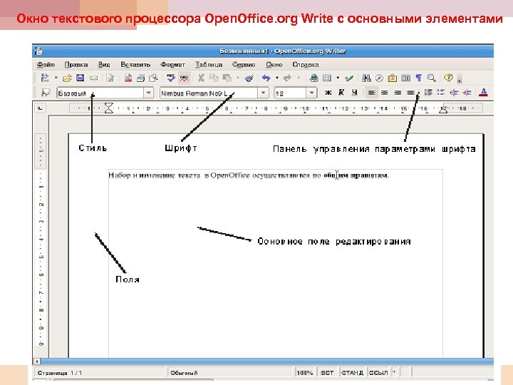 Окно текстового процессора Open. Office. org Write с основными элементами