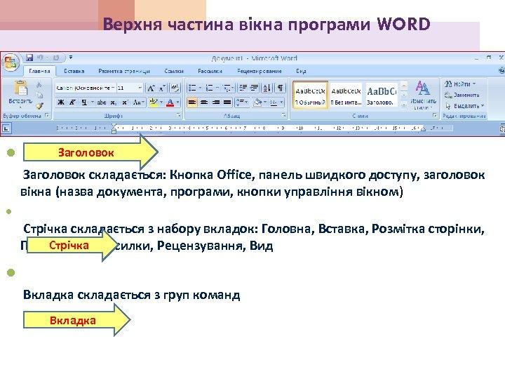 Верхня частина вікна програми WORD Заголовок складається: Кнопка Office, панель швидкого доступу, заголовок вікна