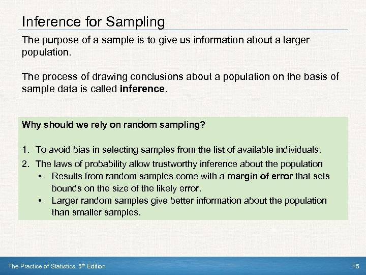 what is the purpose of sampling what are some concerns and dangers of sampling In statistics, quality assurance, and survey methodology, sampling is the selection of a subset (a statistical sample) of individuals from within a statistical population to estimate characteristics of the whole population.