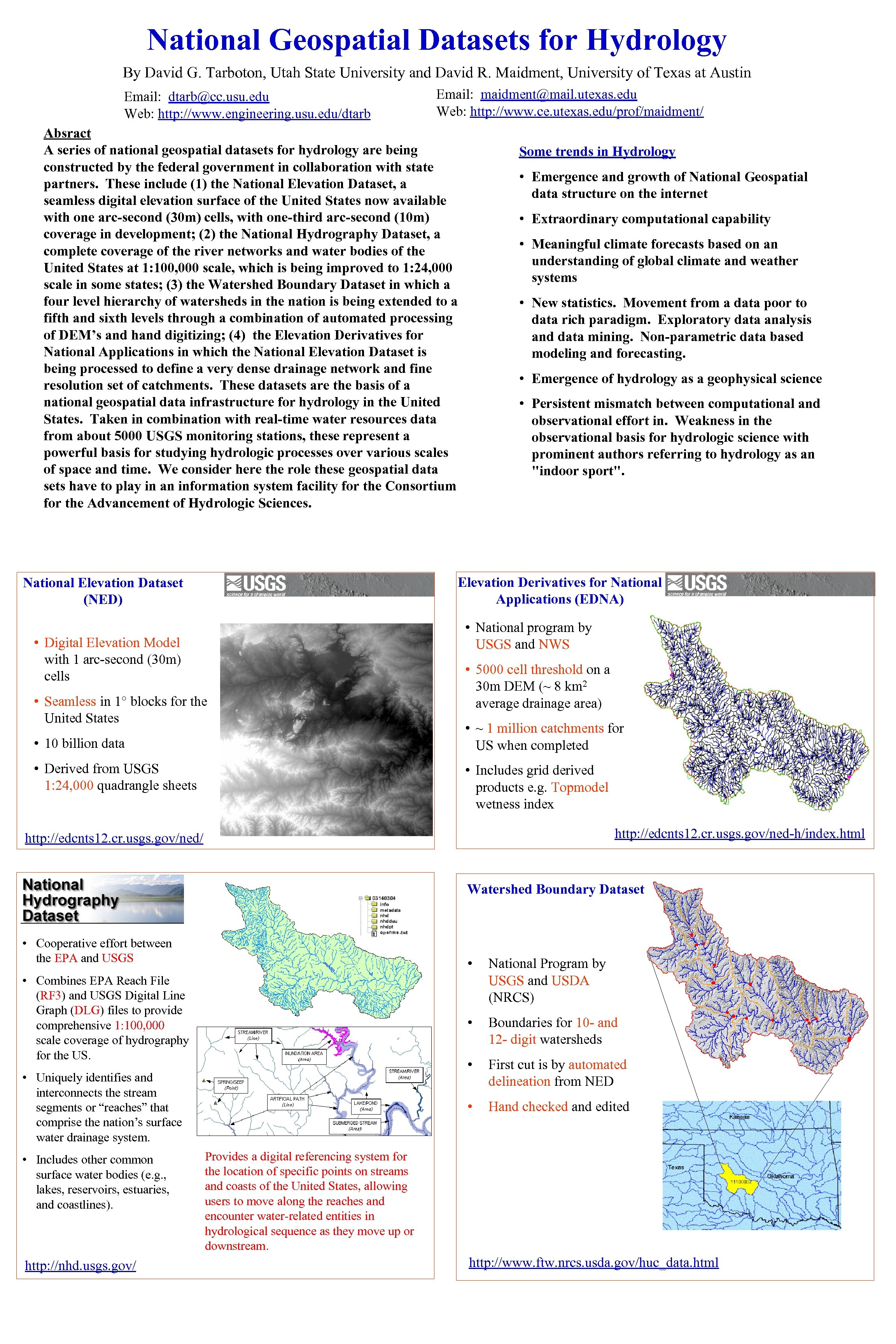 National Geospatial Datasets for Hydrology By David G. Tarboton, Utah State University and David