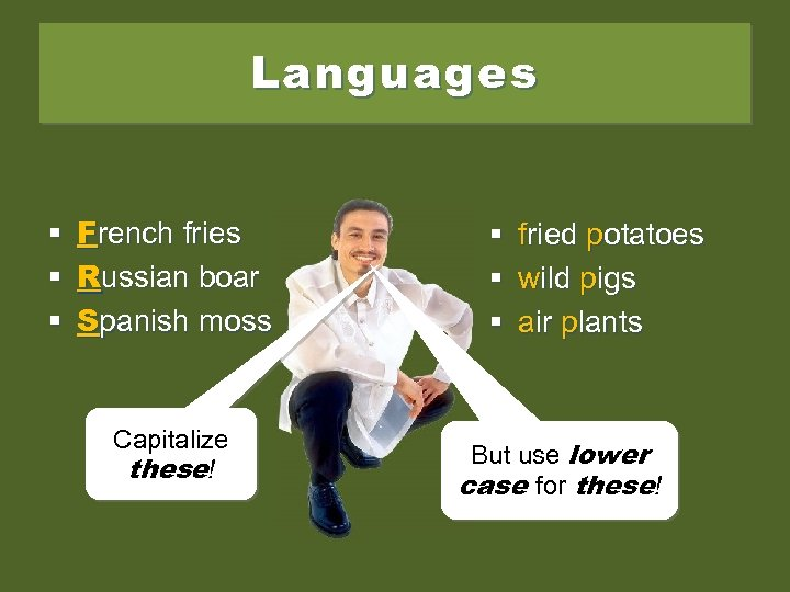 Languages § French fries § Russian boar § Spanish moss Capitalize these! § §