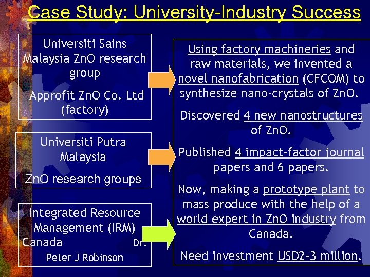 Case Study: University-Industry Success Universiti Sains Malaysia Zn. O research group Approfit Zn. O