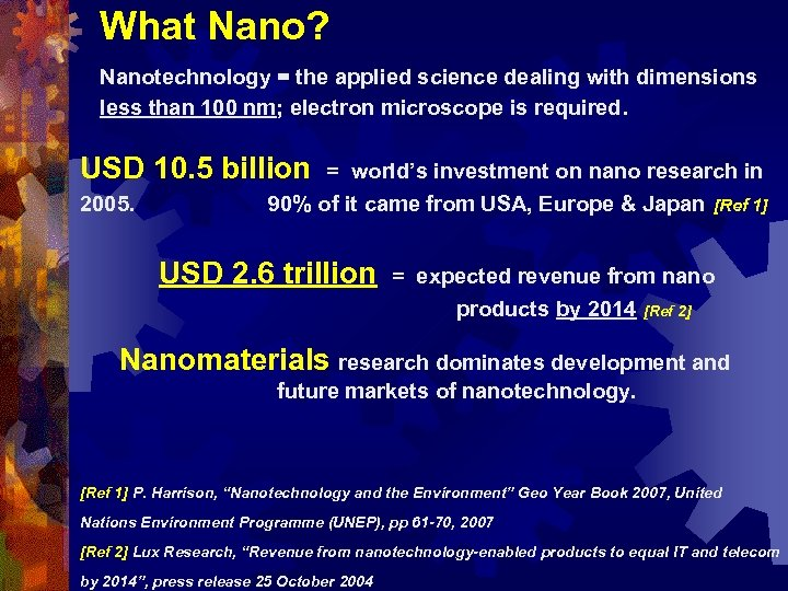 What Nano? Nanotechnology = the applied science dealing with dimensions less than 100 nm;
