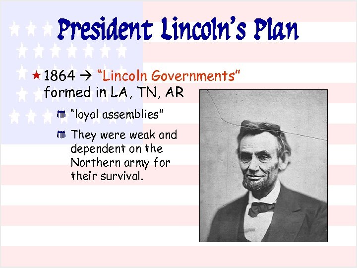 """President Lincoln's Plan « 1864 """"Lincoln Governments"""" formed in LA, TN, AR * *"""