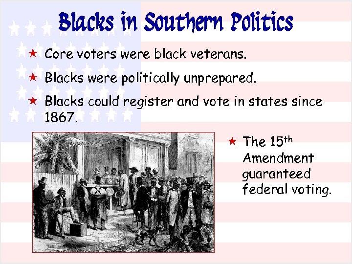 Blacks in Southern Politics « Core voters were black veterans. « Blacks were politically