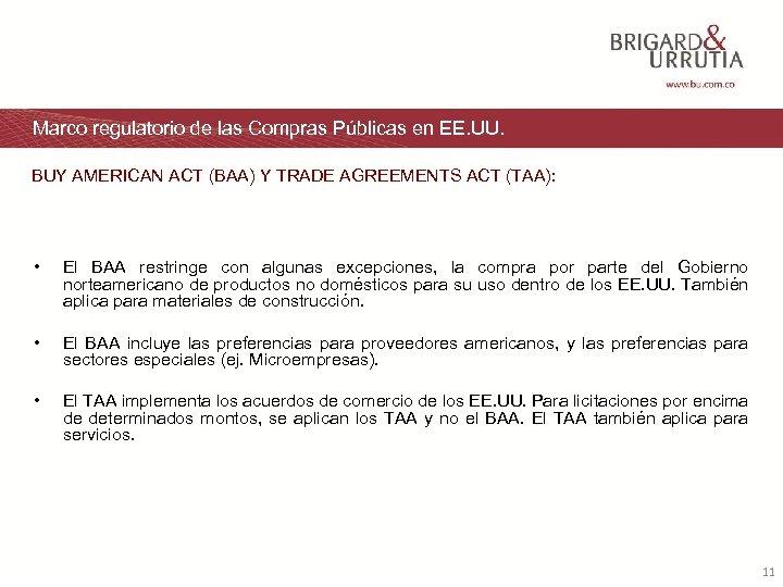 Marco regulatorio de las Compras Públicas en EE. UU. BUY AMERICAN ACT (BAA) Y